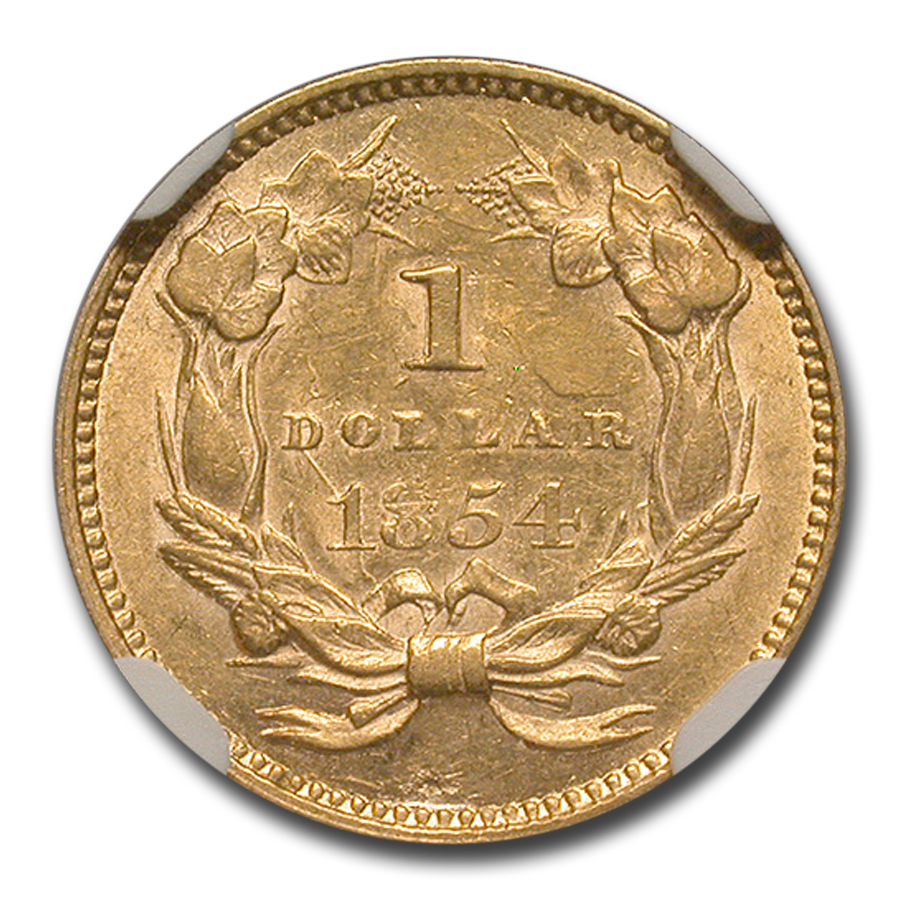 1854 $1 Indian Head Gold Type-2 AU-58 NGC